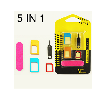 Εικόνα της 5 in 1 Nano Sim Card Adapters Micro Sim Card Standard SIM Card Adapter For iPhone 4 4S 5 5c 5s 6 6s