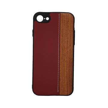 Θήκη πλάτης Wood Leather για iPhone 7G/8G (4.7) - Χρώμα: Κόκκινο