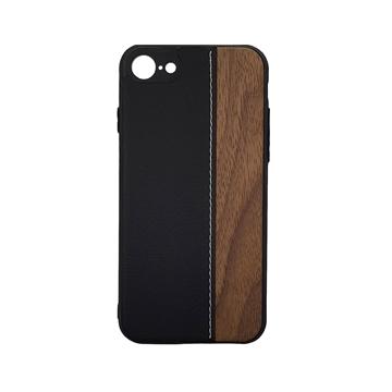Θήκη Πλάτης Wood Leather για iPhone 7G/8G (4.7) - Χρώμα: Μαύρο