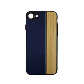 Θήκη πλάτης Wood Leather για iPhone 7G/8G (4.7) - Χρώμα: Μπλε