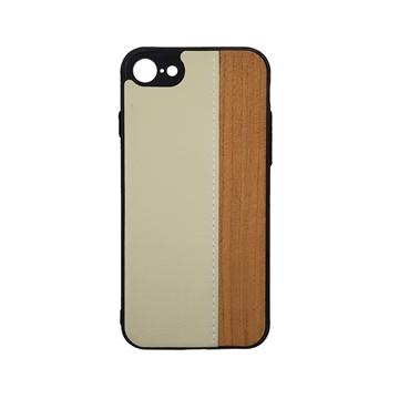 Θήκη πλάτης Wood Leather για iPhone 7G/8G (4.7) - Χρώμα: Λευκό