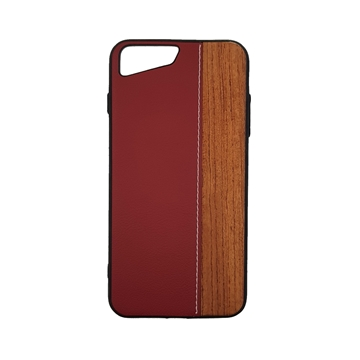 Wood Leather Back Case for iPhone 7 plus/8 plus (5.5) - Color : Red