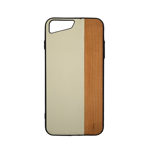 Wood Leather Back Case for iPhone 7 plus/8 plus (5.5) - Color : White