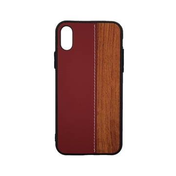 Wood Leather Back Case for iPhone X/Xs - Color : Red