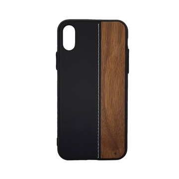 Wood Leather Back Case for iPhone  X/Xs - Color : Black