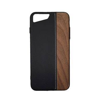 Wood Leather Back Case for iPhone  7 plus/8 plus (5.5) - Color : Black