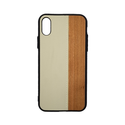 Wood Leather Back Case for iPhone X/Xs - Color : White