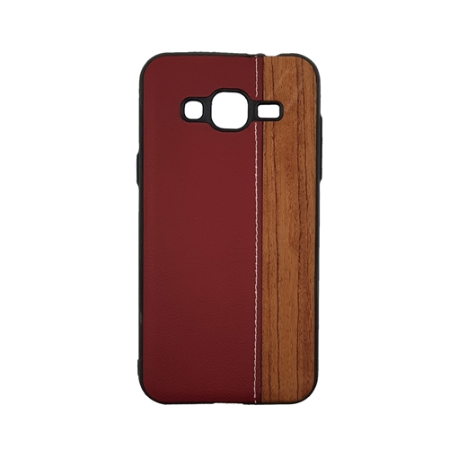 Wood Leather Back Case for iPhone J310 (J3 2016) - Color : Red