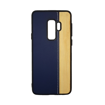 Wood Leather Back Case for Samsung Galaxy S9 Plus (G965) - Color : Blue