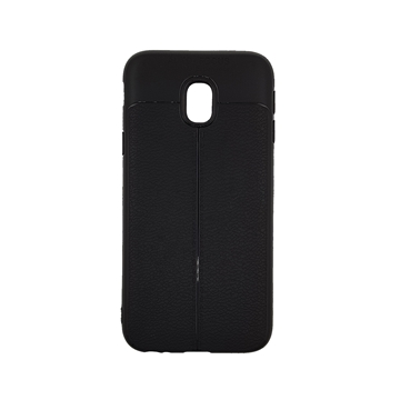 TPU Litchi Case with Leather pattern for Samsung Galaxy J730 (J7 2017) - Color : Black