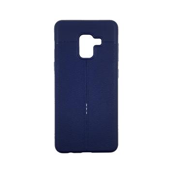 Θήκη TPU Litchi με δερμάτινη όψη για Samsung Galaxy A8 2018 (A530F) - Χρώμα: Μπλε