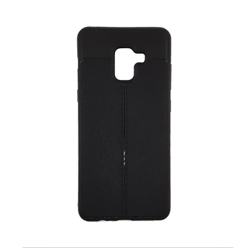 TPU Litchi Case with Leather pattern for Samsung Galaxy A8 2018 (A530F) - Color : Black