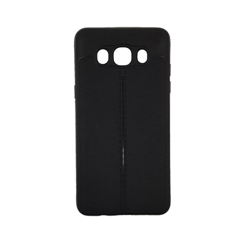 TPU Litchi Case with Leather pattern for Samsung Galaxy J510 (J5 2016) - Color : Black