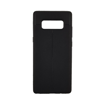 Θήκη TPU Litchi με δερμάτινη όψη για Samsung Galaxy Note 8 - Χρώμα: Μαύρο
