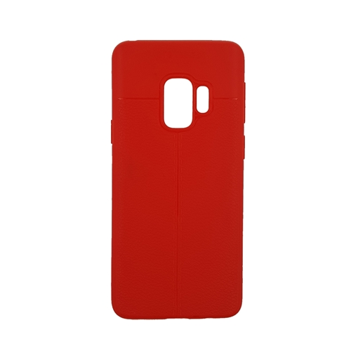 TPU Litchi Case with Leather pattern for Samsung Galaxy S9 (G960) - Color : Red