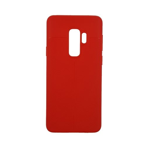 TPU Litchi Case with Leather pattern for Samsung Galaxy S9 Plus (G965) - Color : Red