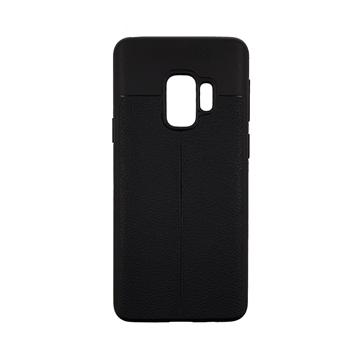 Θήκη TPU Litchi με δερμάτινη όψη για Samsung Galaxy S9 (G960) - Χρώμα: Μαύρο