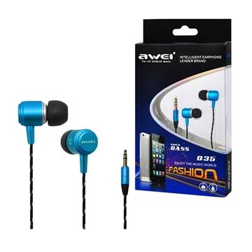 Wired Earphones Awei Q35 Stereo Headset Ενσύρματα Ακουστικά - Χρώμα: Μπλε