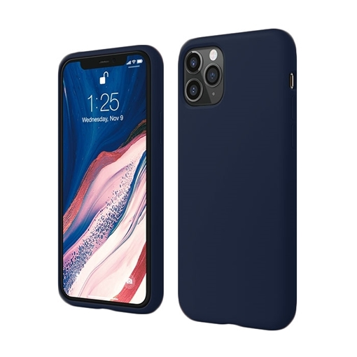 Back Cover Silicone Matte Case for Apple iPhone 11 Pro - Color: Dark Blue