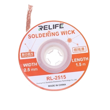 Εικόνα της Relife RL-2515 Σύρμα Αποκόλλησης / Desoldering Wick (1.5m Long - 2.5mm Wide)