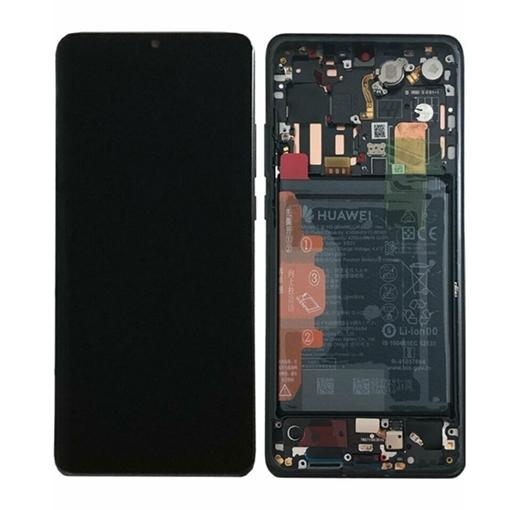 Γνήσια Οθόνη LCD με Μηχανισμό Αφής και Πλαίσιο με Μπαταρία για Huawei P30 Pro (Service Pack) 02352PBT - Χρώμα: Aurora Black