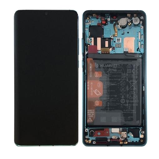 Γνήσια Οθόνη LCD με Μηχανισμό Αφής και Πλαίσιο με Μπαταρία για Huawei P30 Pro (Service Pack) 02352PGE - Χρώμα: Aurora Blue